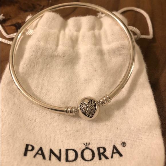 3a77d008fd8 Pandora Accessories | Silver Heart Bangle Original Packing | Poshmark